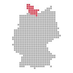 Bundesland Schleswig-Holstein - Serie: Pixelkarte Bundesländer