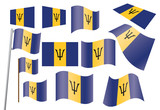 set of flags of Barbados vector illustration