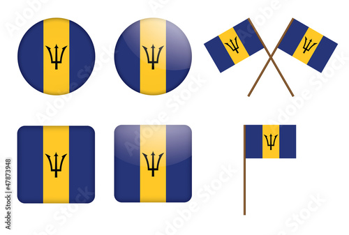 set of badges with flag of Barbados vector illustration