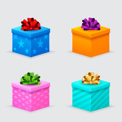 gift boxes for a birthday or new year with bows