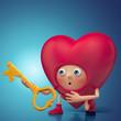 Funny amazed 3d Valentine heart cartoon holding key