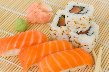 japaneese sushi and rolls dish
