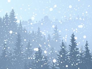 Wild coniferous snowy forest.