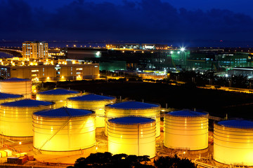 Oil tanks at night