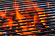 canvas print picture - barbecue with flames and copy space