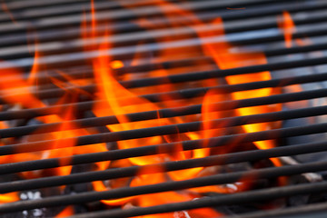 barbecue with flames and copy space