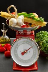 mediterranean diet over red kitchen scales