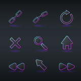 technology icons and signs in modern neon style