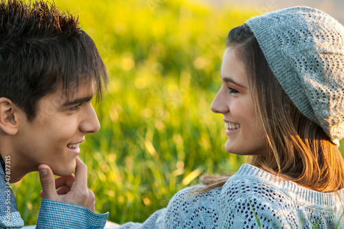 Young couple with in love face expression.
