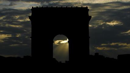 France Paris Arc de Triomphe sunpassing