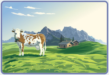 Mountain landscape with cow.