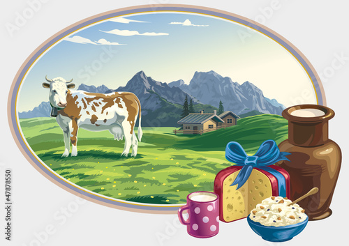 Rural landscape and dairy foodstuff