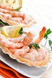 Antipasto di gamberi - Appetizer with shrimps, selective focus