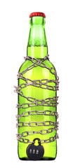 alcohol abuse concept - beer locked on a chain