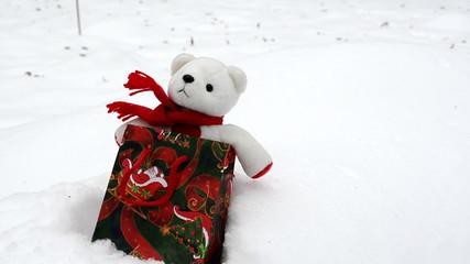 White plush teddy bear Christmas gift present bag snow