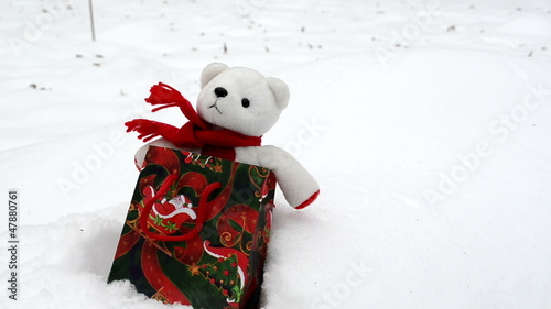 White plush teddy bear Christmas gift present bag snow