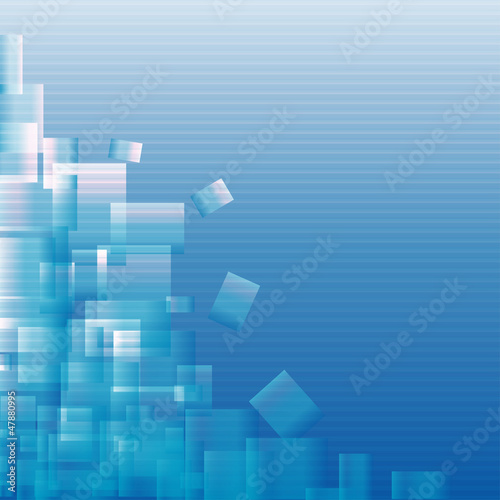 Abstract blue background with squares - vector illustration