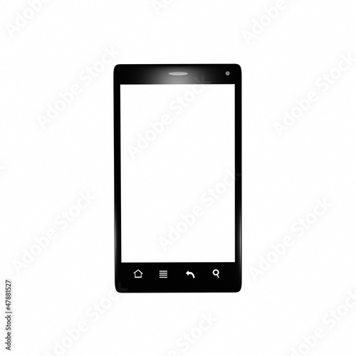 Isolated black smartphone