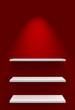 Drei Regale an Wand mit Beleuchtung - Rot Weiß