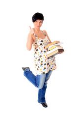 Junger weiblicher Student mit einem Stapel Bücher