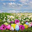 Bunte Osterwiese mit Blumen und Ostereiern