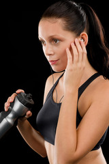 Sport woman young listen music headphones