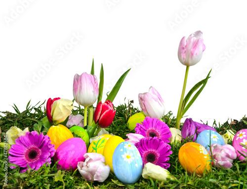Bunte Osterwiese mit Ostereiern und Frühlingsblumen