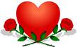 Herz mit 2 Rosen