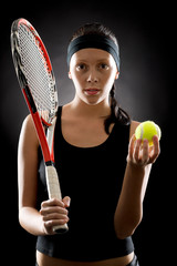 Tennis woman sport hold racket ball black