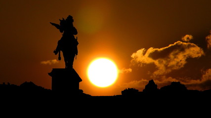 France Versailles Palace and Lui XIV sunset