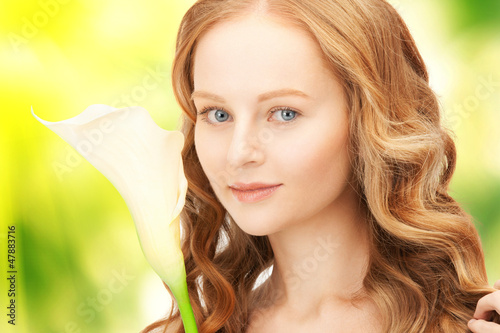 beautiful woman with calla flower