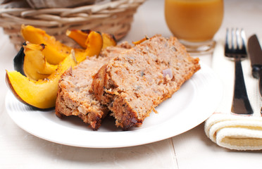 Ground turkey meatloaf and roasted squash