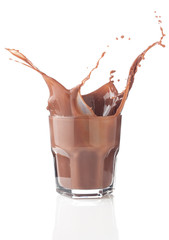 Chocolate splash in a glass