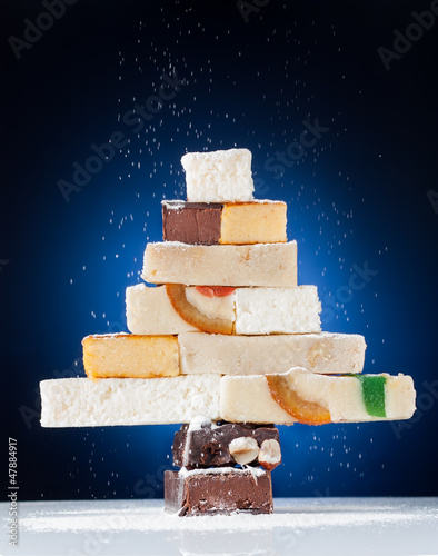 Christmas tree made of nougat