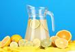 Citrus lemonade in glass pitcher of citrus around