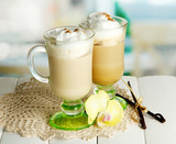 Fototapety Fragrant coffee latte in glasses cups with spices,