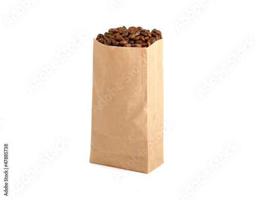 Paper Bag Package Of Coffee, filled with coffee beans.