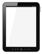 Black tablet pc computer with blank screen on white background