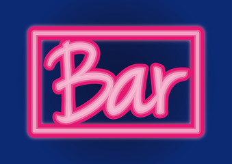 Bar neón sign vector pink