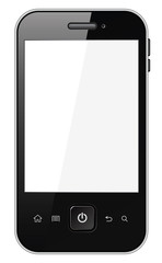 Smart phone with blank screen. Isolated on white background