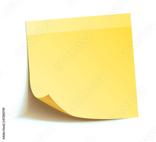 Leinwandbild Motiv Yellow stick note isolated on white background