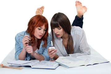 Two teenage girls studying on the floor