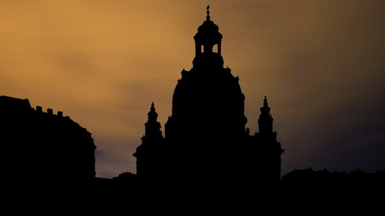 Germany Dresden Church of Our Lady night clouds