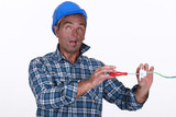 Tradesman suffering from electric shock poster