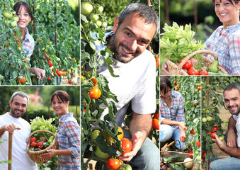 Collage of man and woman in their kitchen garden