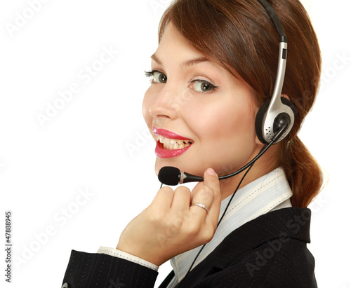 Beautiful business woman with headset