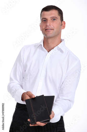 Waiter with menus