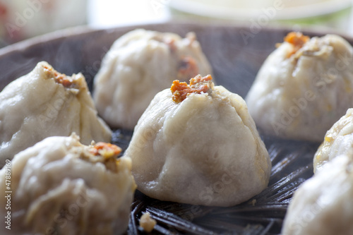 Chinese food, steamed bun in bamboo steamer
