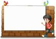A white board, a boy and birds