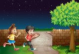 A running boy and a girl are